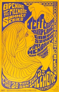 Jefferson Airplane And Jimi Hendrix Original Concert Poster Vintage Rock Poster Fillmore Auditorium