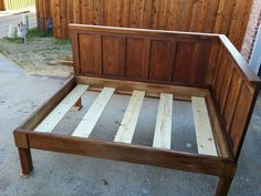 Corner Queen Size Bed   Using 2 Old 5 Panel Doors   Vintage Headboards