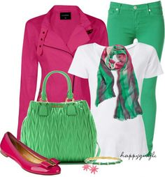 Fushia pink and green. Casual Wear, Casual Outfits, Cute Outfits, Fashion Outfits, Comfy Casual, White Casual, Smart Casual, Dress Outfits, Green Fashion