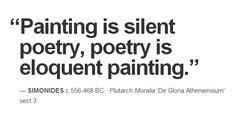 """Painting is silent poetry, poetry is eloquent painting."" — Simonides c.556-468 BC · Plutarch Moralia 'De Gloria Atheniensium' sect.3"