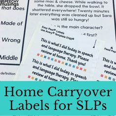 Homework Labels for Speech Therapy