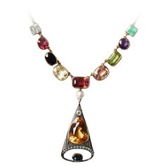 1890s Russian Multi Gemstone Gold Necklace | From a unique collection of vintage drop necklaces at https://www.1stdibs.com/jewelry/necklaces/drop-necklaces/