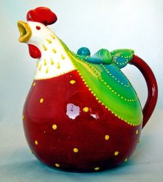 Red Rooster Teapot Ceramic Chicken Hand Painted New | eBay