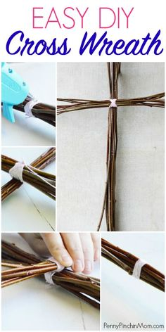 Simple DIY wreath idea for Easter or any time of the year. This easy cross wreath craft is a great way to dress up your front door without all the flowers and heavy decor. Wreath Crafts, Diy Wreath, Rustic Cross, Cross Wreath, Homemade Wreaths, Easter Crafts For Kids, Easter Decor, Easter Centerpiece, Bunny Crafts