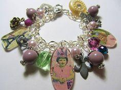 Vintage Ephemera~Queen for the Day~Altered Art Charm Bracelet ooak ebsq, by Bostoncharm