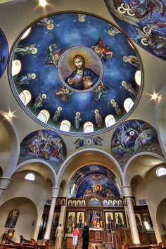 There is so much here to captivate the imagination. Orthodox Prayers, Church Interior Design, Jesus Painting, Church Architecture, Orthodox Icons, Fresco, Roman Catholic, Byzantine, Archangel Michael