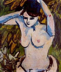 Ernst Ludwig Kirchner Nude with Raised Arms, Expresionismo Ernst Ludwig Kirchner, Figure Painting, Figure Drawing, Painting & Drawing, Davos, Wassily Kandinsky, Ludwig Meidner, Karl Schmidt Rottluff, Dibujo