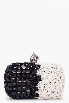 McQueen two tone clutch with skull closure