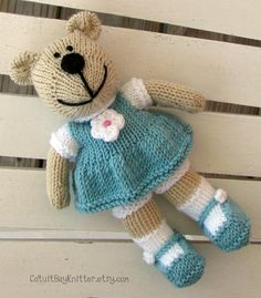 Hand Knit Teddy Bear Stuffed Animal  Knitted by cotuitbayknitter, $55.00