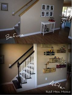"Just for a reminder….here's the ""before"" and ""after"" of the stairway in my home. This is the first thing you see when you come in the front ..."