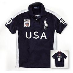 Newest Ralph Lauren Big Pony USA Symbol Flag Navy Sporty Polo [rl 124] -