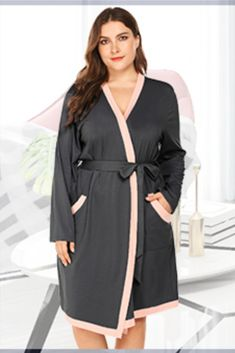 Women Plus Size Kimono Robes Cotton Knee Length Robe Knit Bathrobe Soft Sleepwear Ladies Loungewear