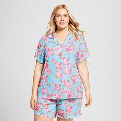7ba675faed1 BHPJ by Bedhead Pajamas Women s Plus Size Notch Collar Classic Shorty Pajama  Set – Aqua Cabbage