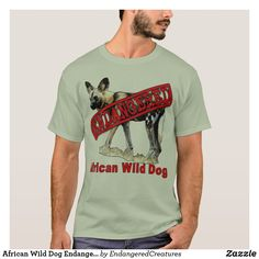 African Wild Dog Endangered Animal Products T-Shirt African Hunting Dog, African Wild Dog, Hunting Dogs, Most Endangered Animals, Spotted Dog, Wild Dogs, Colorful Shirts, Fitness Models, Mens Tops