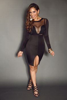 BLACK LONG SLEEVE MESH FISHNET WITH CUTOUTS AND FRONT OPEN SLIT STYLISH DRESS