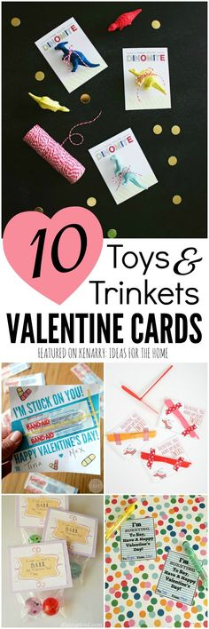 Love these great gift ideas for kids valentine cards that don't involve candy! 10 clever ways for using toys and trinkets for Valentine's Day party treats for school instead.