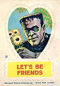 { Vintage Valentine Card / Heart / Retro Valentines / St Valentines Day / Love / Crush / offbeat / fun / unusual / Creepy Scary Strange Weird Funny Valentine - Frankenstein Monster )