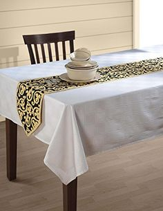 """Indian Patterned Duck Cotton Table Runner - 13"""" x 72"""" - Beige and Black Clover Scroll Swayam http://www.amazon.com/dp/B00X0W7TT0/ref=cm_sw_r_pi_dp_1XZVvb1T8AWW4"""