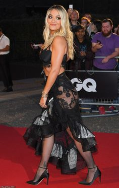 Victoria Beckham, Kylie Minogue and Rita Ora led the glamour on the red carpet at the GQ Men Of The Year Awards 2019 at London's Tate Modern on Tuesday night. Stockings Outfit, Fishnet Stockings, Black Stockings, Rita Ora, Celebrities In Stockings, Celebrity Stockings, Gq Men, Black Lace Bra, Celebrity Red Carpet