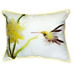 Betsy Drake Yellow Hummingbird Throw Pillow (Yellow Hummingbird Pillow 18x18), Multi (Polyester, Solid Color)