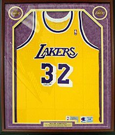 Magic Johnson Autographed   Signed Framed Los Angeles Lakers Authentic  Jersey (PSA  DNA) 4829b5632