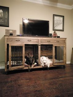 32 Rustic Indoor Dog Houses Design Ideas For Small Dogs To Have - Most people think of outdoor dog houses when they thing of a dog house. However, there are also indoor dog houses. Which are perfect if you want to ke. Wooden Dog Crate, Diy Dog Crate, Dog Crate Cover, Decorative Dog Crates, Dog Crate End Table, Diy Pet, Dog Crate Furniture, Wooden Furniture, Furniture Dog Kennel