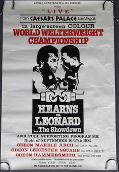 "Lot 381, A promotional double crown  ( 20"" x 30"" ) poster of the Sugar Ray Leonard vs. Thomas Hearns 1981 World Welterweight Championship est £20-30"