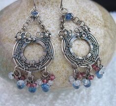 Blue Red White Gray Wire Wrapped Gemstone Earrings. Multi Color Stone Earrings, Wire Wrapped Jewelry, Wired Blue Earrings, Long Earrings