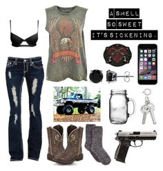 """""""Untitled #226"""" by buckshot-baby1799 ❤ liked on Polyvore featuring Justin Boots, Charter Club, BERRICLE, Rebel Republic and Anchor Hocking"""