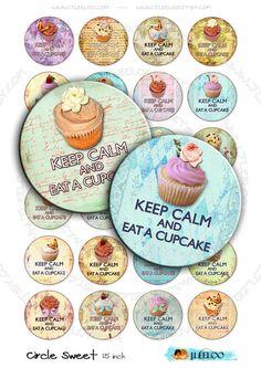 Digital sheet CIRCLE SWEET 1.5 inch cupcake pendants by byJLeeloo
