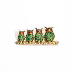 4 Little Rhinestone Owls on a Branch Brooch by VintageMeetModern #owls #jewelry