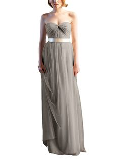 DescriptionWtoo by WattersStyle 650iFulllength bridesmaid dressStrapless, sweetheart necklineSatin ribbon beltCrystal chiffonBelt available in over 30 colors for mix and match. Contact stylist@brideside.com for details.