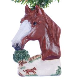 Christmas Ornament Sorrel Chestnut Horse Personalized with your favorite equine or equine lovers name made in the USA from resin (h51) by Christmaskeeper on Etsy