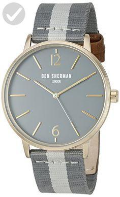 Ben Sherman Men's 'Portobello Stripe' Quartz Stainless Steel and Leather Watch, Multi Color (Model: WB044EGA) - Mens world (*Amazon Partner-Link)