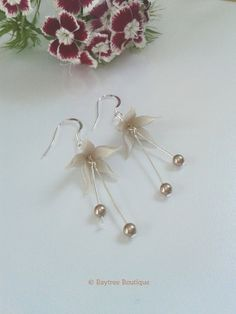 Floral Swarovski pearl drop earrings  elegant by BaytreeBoutique, £14.00