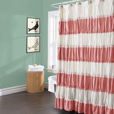 Teal and Coral bathroom- Isla Shower Curtain