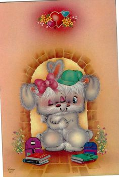 Adorable Cute Animals, Cute Animals Images, Painting Doors, Cute Animal Illustration, Baby Painting, Kawaii, Country Christmas, Love Cards, Cute Love