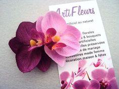 CLIP CORSAGE PINCE CHEVEUX FLEURON x2 ORCHIDEE 6cm fleurs artificielles satin