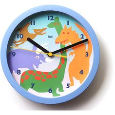 Spike Tail Dinosaur Wooden Wall Clock For Boys Bedroom Baby Nursery Wc0059 Wall Clocks And