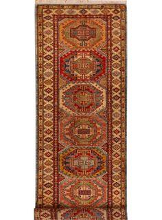 "Multi-colored Oriental Kazak Runner 2' 8"" x 9' 8"" (ft) - No. 26440"