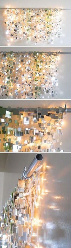 illuminated curtain made of small mirrors