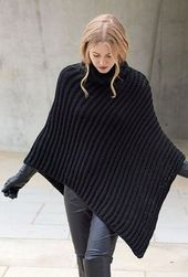 Knitting Patterns Poncho Lana Grossa PONCHO PATENT Cashsilk (Did not find pattern but could be ordered I am sure).Poncho in Schwarz - warm und super elegantOur ladies vests and find out stylish quilted gilets of highest quality, provided keep you stylishl Poncho Crochet, Poncho Knitting Patterns, Knitted Poncho, Hand Knitting, Knitting Scarves, Crochet Patterns, Chunky Crochet, Black Poncho, Black Knit