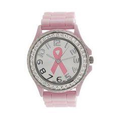 Women Girl Crystal Cancer Dial Quartz Analog Silicone Band Wrist Watch