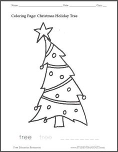 christmas tree coloring sheet for kids free to print pdf