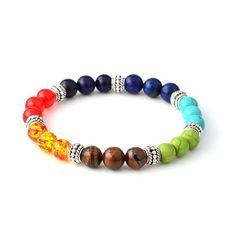 $9.99 7 CHAKRA ENERGY HEALING BRACELET - SILVER Material:  Natural Stone, Alloy, Agate Size:  One size stretchy elastic fits most.  Each piece of jewelry is exquisitely handcrafted and polished by our most skilled masters. #yoga, #chakra, #affiliate this contains an affiliate link