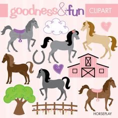 These horses are prancing and playing! Horseplay is a fun and girly set for your scrapbooking, stationery, embroidery and other creative projects.