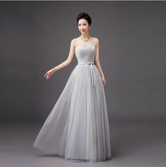 2b79d96a227be Women Formal Long Lace Up Evening Party Wedding Porm Dress Gray 5 Styles  S-XXL  Unbranded  BallGown  Formal