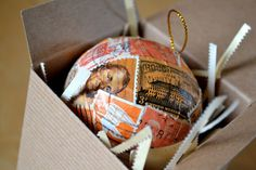 Postage Stamp Ornament - This ornately detailed, hand-crafted holiday ornament is gilded in beautifully hand-cancelled orange vintage postage stamps.   My one-of-a-kind ornaments are packaged in a recycled brown kraft gift box, lined on the inside with white stamp scraps for fun eco-friendly fluff. The gift box is bound in red and white striped baker's twine and affixed with a tea-aged metal-rimmed tag, hand-inked with our signature postmark.