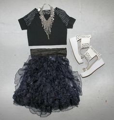 OUTFIT! Vintage mesh Tee, Zac Posen for Target ruffle skirt, with a hardware necklace by Foundry and studded flatforms.