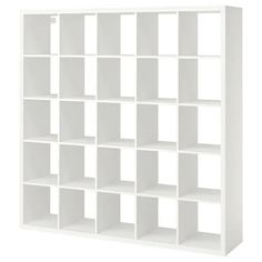 IKEA - KALLAX, Shelf unit, white, Different wall materials require different types of fasteners. Use fasteners suitable for the walls in your home. Two people are needed to assemble this furniture. Hardware for wall mounting included. Etagere Kallax Ikea, Ikea Kallax Shelf Unit, Ikea Kallax Regal, Wall Shelf Unit, Wall Shelves, Ikea Shelves, Shelving Units, Kallax 5x5, Ikea Regal